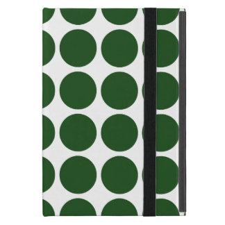 Lunares verdes en blanco iPad mini fundas