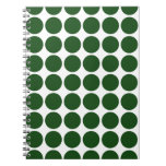 Lunares verdes en blanco libros de apuntes con espiral