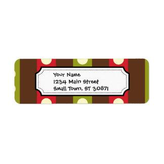 Lunares verdes rojos de Brown en rayas Etiquetas De Remite