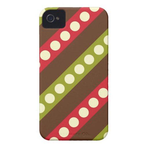Lunares verdes rojos de Brown en rayas iPhone 4 Case-Mate Protector