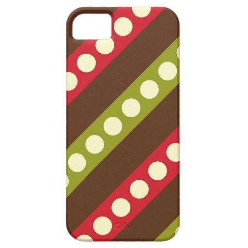 Lunares verdes rojos de Brown en rayas iPhone 5 Funda