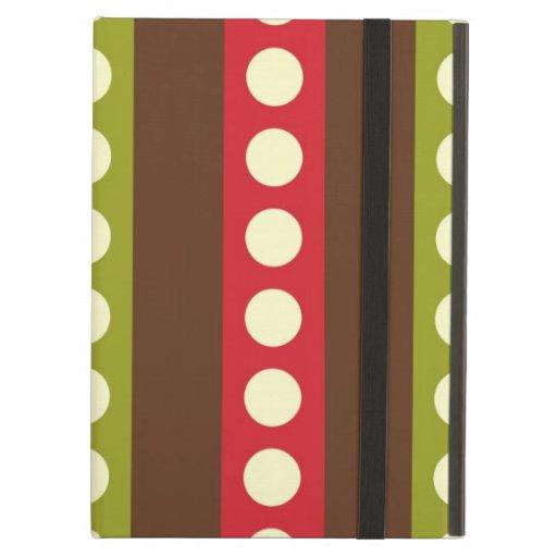 Lunares verdes rojos de Brown en rayas