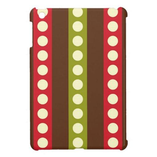 Lunares verdes rojos de Brown en rayas iPad Mini Cobertura