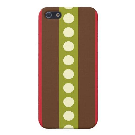 Lunares verdes rojos de Brown en rayas iPhone 5 Cobertura