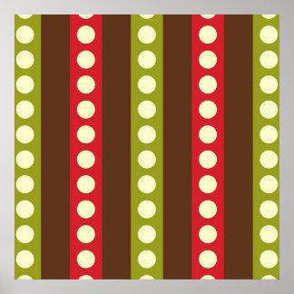 Lunares verdes rojos de Brown en rayas Poster