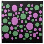 lunares verdes rosados coloridos servilletas imprimidas