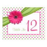 Lunares verdes rosados de la margarita que casan l tarjetas postales