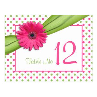 Lunares verdes rosados de la margarita que casan postal