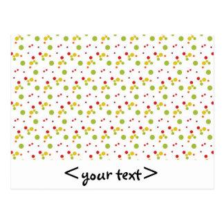 Lunares verdes y amarillos rojos tarjeta postal