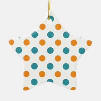 Lunares verdes y anaranjados del trullo adorno de cerámica en forma de estrella