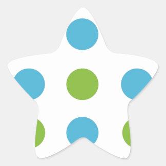 Lunares verdes y azules pegatina en forma de estrella
