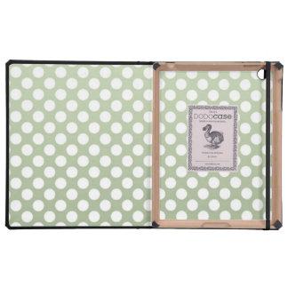 Lunares verdes y blancos grises iPad carcasas