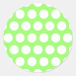Lunares verdes y blancos pegatinas redondas