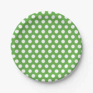Lunares verdes y blancos plato de papel de 7 pulgadas