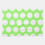 Lunares verdes y blancos toallas de mano