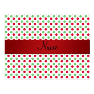 Lunares verdes y rojos conocidos personalizados tarjetas postales