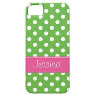 Lunares verdes y rosados de muy buen gusto iPhone 5 carcasa