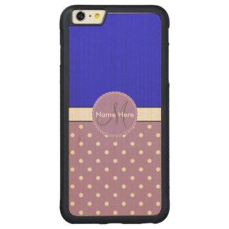 Lunares violetas y azules, monograma conocido de funda para iPhone 6 plus de carved® de nogal
