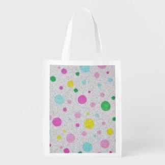 Lunares y burbujas en colores pastel peludos bolsa para la compra