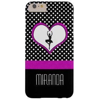 Lunares y corazón del caso rosado del bailarín funda de iPhone 6 plus barely there