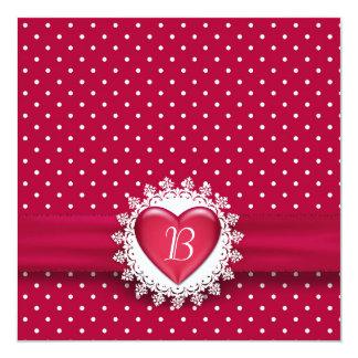"""Lunares y corazón invitación 5.25"""" x 5.25"""""""