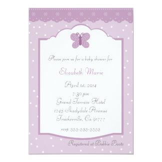 Lunares y ducha de la Mariposa-LavenderBaby Invitación 12,7 X 17,8 Cm