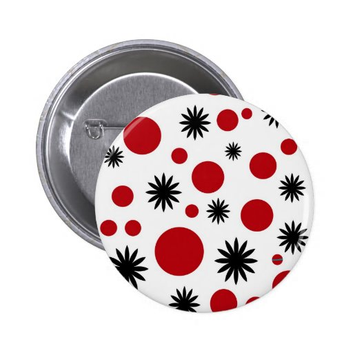 Lunares y estrellas en rojo pin redondo 5 cm