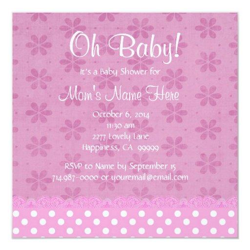 """Lunares y fiesta de bienvenida al bebé rosados V18 Invitación 5.25"""" X 5.25"""""""