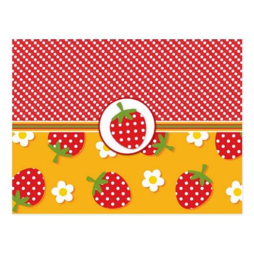 Lunares y fresas tarjeta postal