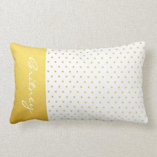 Lunares y monograma - personalizado del oro almohada