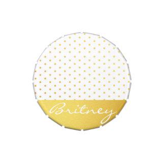 Lunares y monograma - personalizado del oro latas de dulces