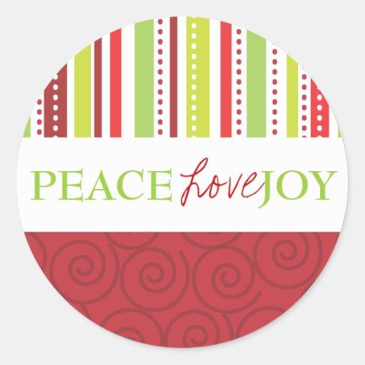 Lunares y rayas de la alegría del amor de la paz pegatina redonda