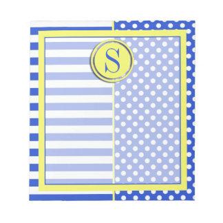 Lunares y rayas de la combinación del azul real blocs de notas