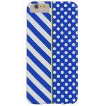 Lunares y rayas de la combinación del azul real funda de iPhone 6 plus barely there