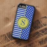 Lunares y rayas de la combinación del azul real funda de iPhone 6 tough xtreme