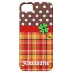 Lunares y trébol lindos personalizados de la Cuatr iPhone 5 Protector