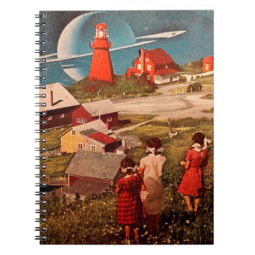 Beach Themed Lunarscape Collage Spiral Notebook