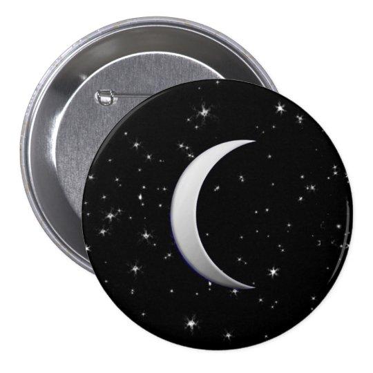 Lunas crecientes de plata - fondo estrellado pin redondo de 3 pulgadas