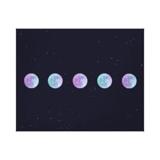 Lunas en el cielo nocturno estrellado impresión en lienzo estirada