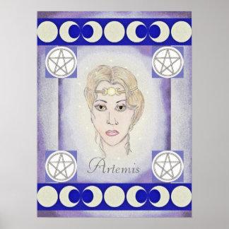 Lunas/pentáculos del triple de la diosa de la luna póster