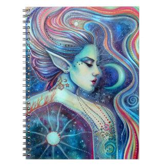 Lunas y estrellas de hadas del arte de la fantasía libro de apuntes