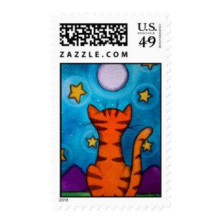 Lunas y gato del gatito del tigre de las estrellas timbres postales