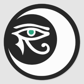 LunaSees Logo Sticker (white / jade eye)