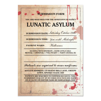 Lunatic Asylum Form Halloween Party Invite