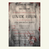 Lunatic Asylum Halloween Birthday Magnetic Invitation