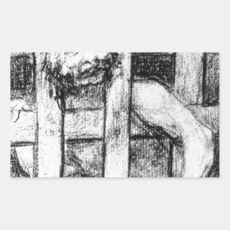 Lunatic behind Bars by Francisco Goya Rectangular Sticker