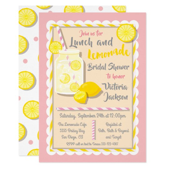 41717427ea33 Lunch and Lemonade Bridal Shower Invitations