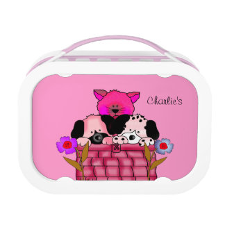 Lunch Case Pink Cat Dog Flowers Lunch Box