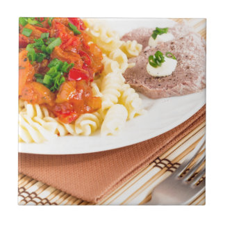 Lunch dish of Italian pasta, vegetable sauce Ceramic Tile
