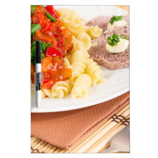 Lunch dish of Italian pasta, vegetable sauce Dry-Erase Board
